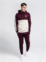 taped-hoodie-burgundy-&-cream-från-sik-silk